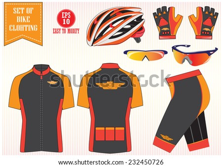 Bike or Bicycle clothing illustration, or bike to work equipment illustration, easy to modify - stock vector