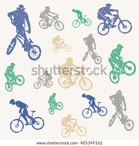 Bike pattern, bikers man illustration. Creative, luxury gradient color style image. Print label, banner, book, cover, card, clothes, emblem, wrap, wrapping. Street art scratch design - stock vector