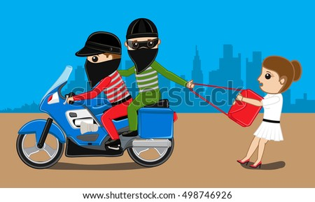 Bike Robbers Trying to Snatch Lady Purse