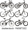 bike - silhouette and the outlines - stock vector