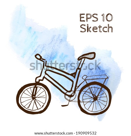 Bike sketch modern simple light template on blue watercolor background - stock vector