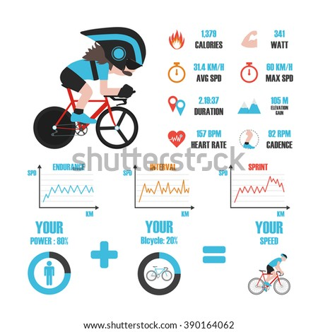 bike training infographic, isolated on white background - stock vector