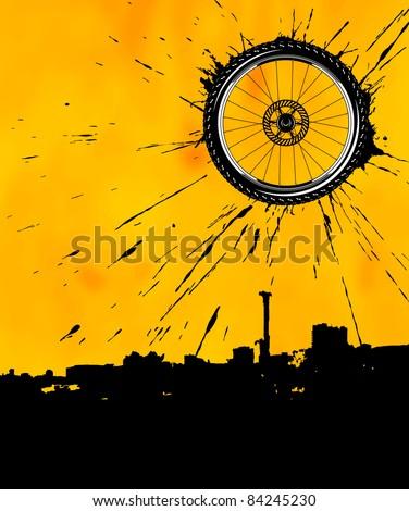 Bike wheel as the sun - stock vector