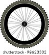 bike wheel with tire and spokes isolated on white background. vector - stock vector
