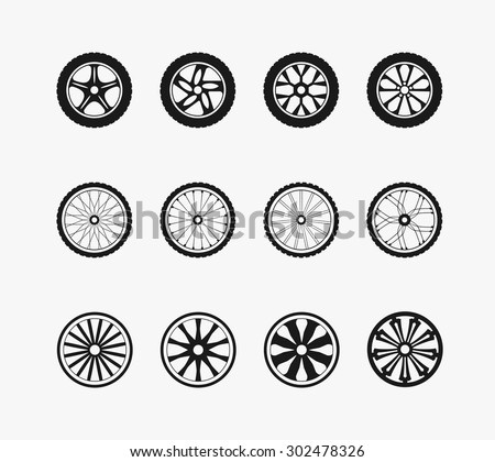Bike wheels, car wheels and wooden wheels. Round and transportation,  automobile equipment, vector illustration - stock vector