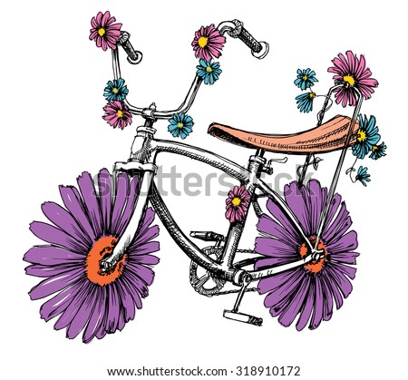 Bike with flowers cute design element for different events - stock vector