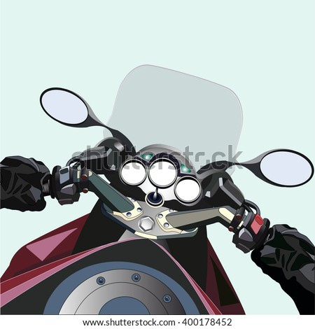 Biker driving a motorcycle. First-person view. Vector illustration. All elements are on separate layers.