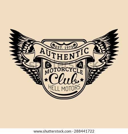 Biker Logo With Wings Illustration MC Sign Custom Garage Label Vector Vintage Motorcycle