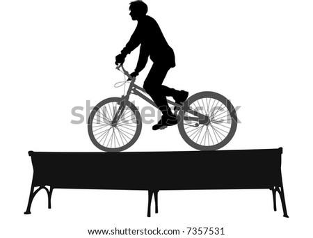 biker on bench vector - stock vector