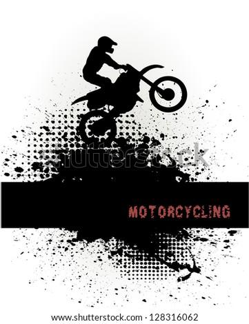 biker on grunge background - stock vector