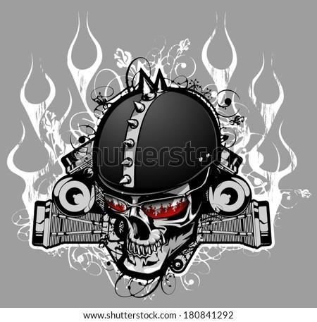 Biker skull - stock vector