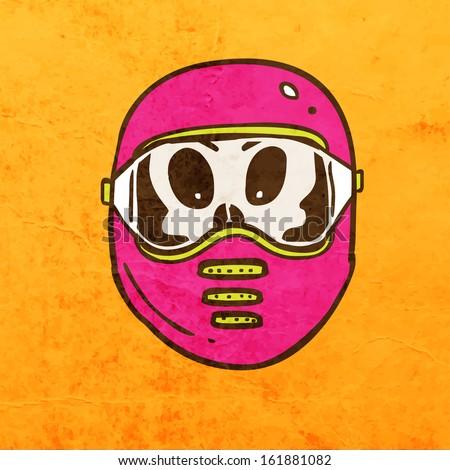 Biker Skull with Helmet. Cute Hand Drawn Vector illustration, Vintage Paper Texture Background - stock vector