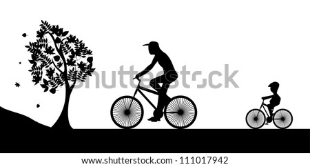 Bikers and the tree. Illustration vector.