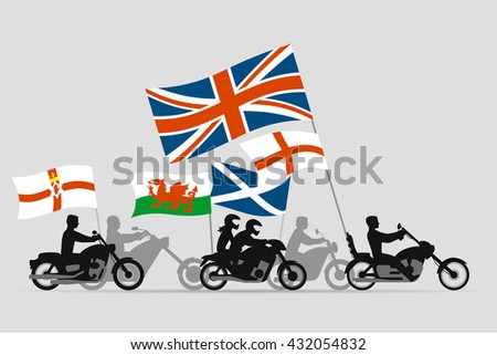 Bikers on motorcycles with flags of england scotland wales northern ireland and united kingdom - stock vector
