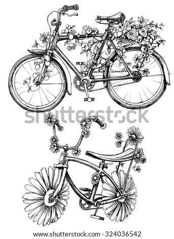 Bikes with flowers drawings set - stock vector