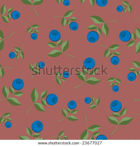 Bilberry seamless background pattern (vector) - stock vector