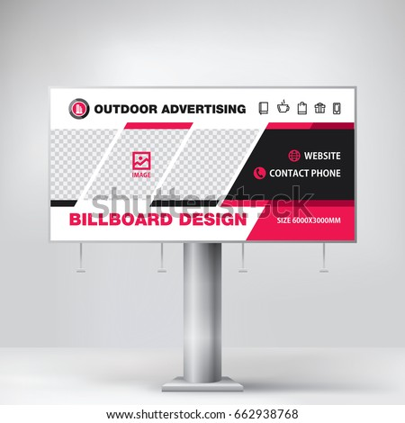 billboard design red graphic stand outdoor stock vector 662938768
