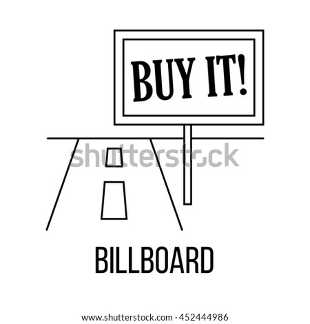 Billboard icon or logo line art style. Vector Illustration.