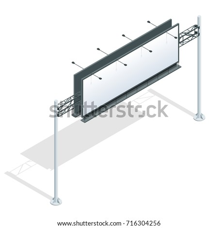 Billboard isometric. Different perspectives advertising construction for outdoor advertising big billboard on background isolated vector illustration