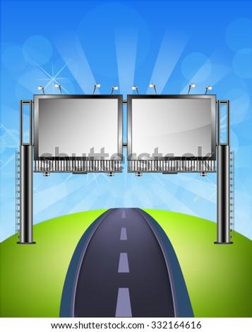 Billboard over empty road landscape - stock vector