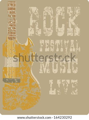Billboard Rock Festival with an electric guitar on a grunge background