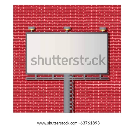 Billboard vector with blank space for your text and faux brick wall - stock vector