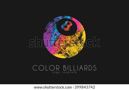 billiard ball logo. Billiard logo. Color ball logo. - stock vector