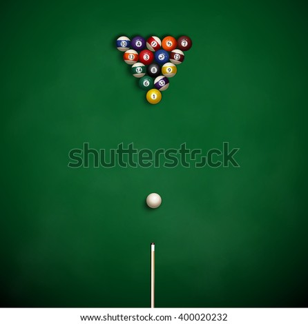 Billiard balls and cue on green cloth - stock vector