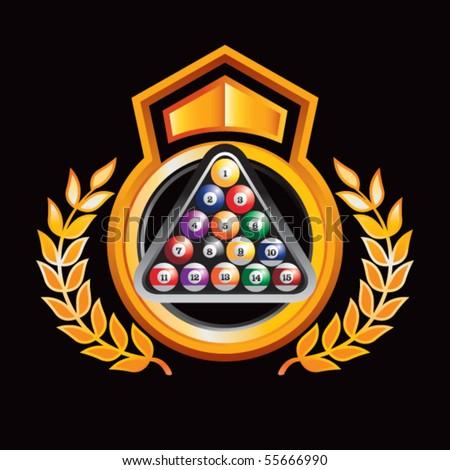 billiard balls on orange and black royal display - stock vector