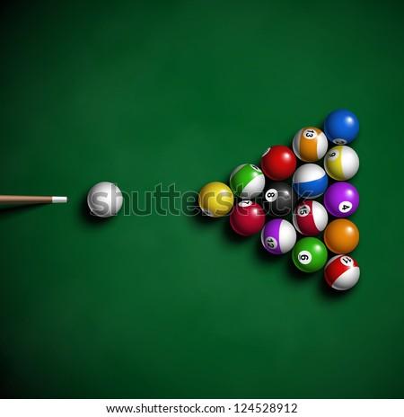 Billiard balls on table. Eps 10 - stock vector