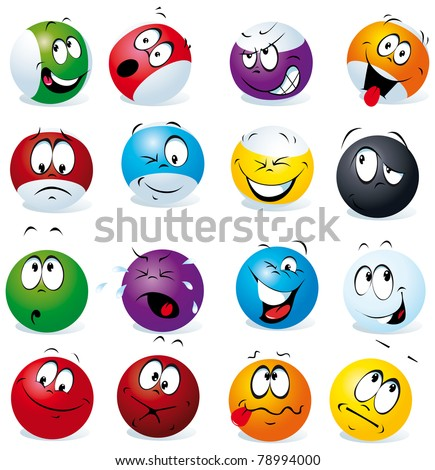 billiard balls with many expressions - stock vector
