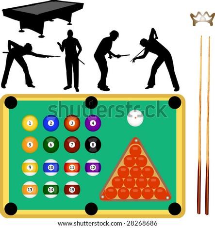billiard collection - stock vector