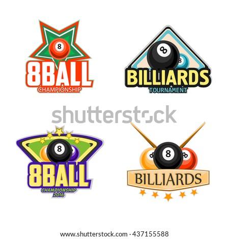 Billiard logo set billiards pool snooker stockvektor for Pool design logo