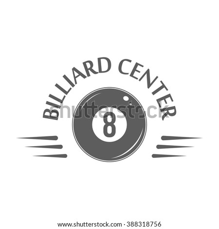 Billiard logotype template. Isolated badge of billiard center on white background. For billiard shop or club advertising, window signage, web sites. Billiard store emblem, icon. Vector illustration. - stock vector