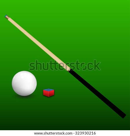 Billiard (snooker) ball with cue and chalk on green background. Vector illustration. - stock vector