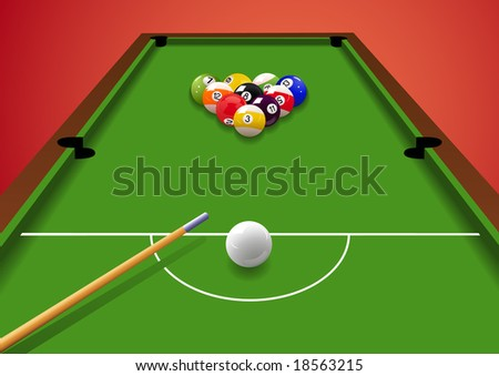 Billiard table, vector illustration, EPS file included - stock vector
