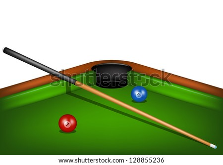 Billiard table with billiard cue and billiard balls - stock vector