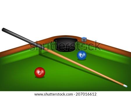 billiard table with billiard cue chalk and billiard balls