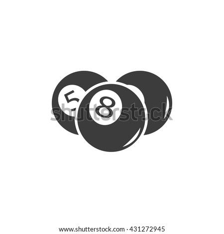 billiards black and white. Billiards Ball Icon. Pool Flat Vector Illustration In Black On White Background. EPS And