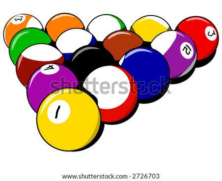 Billiards balls. A set of 8 balls just taken out of the rack ready to break - stock vector