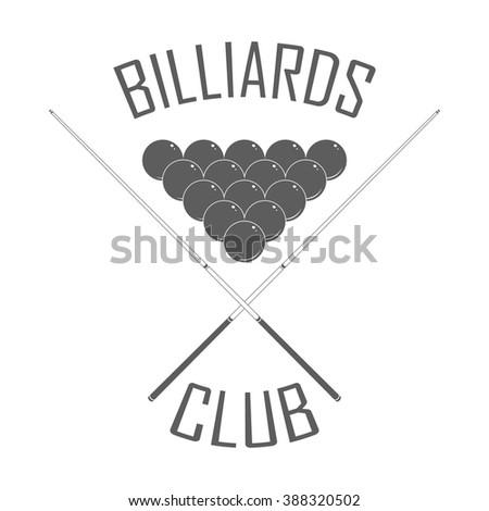 Billiards club logo in retro style. Billiard club badge with pyramid. Isolated billiard emblem on white background. Billiard club advertising, window signage. Vintage style. Monochrome vector label. - stock vector