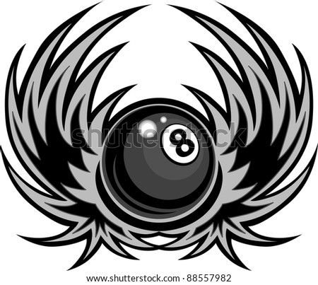 Billiards Eight Ball with Wings Vector Template - stock vector