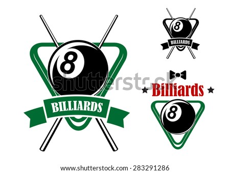 Billiards or pool game emblems with balls in the triangle racks, stars and bow tie. Second variant with crossed cues and ribbon banner.Suitable for sporting club or team design - stock vector