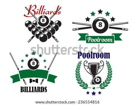 Billiards or Poolroom game badges or emblems with ball, crossed cues, ribbons, banners, wreath and trophy cup, vector illustration on white - stock vector