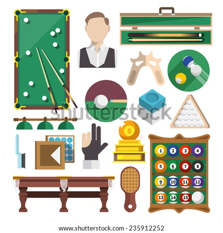 Billiards snooker pool game decorative icons flat set isolated vector illustration - stock vector