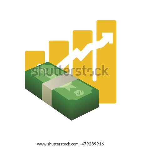 bills and growth arrow icon. Money financial and economy theme. Isolated design. Vector illustration