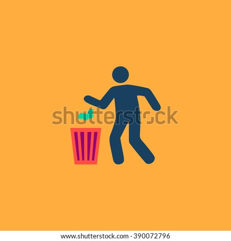 Bin and man. Flat simple modern illustration pictogram. Collection concept icon for infographic project and logo - stock vector