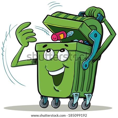 Bin Character Holding Trash - stock vector