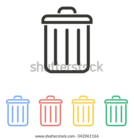 Bin  icon  on white background. Vector illustration.