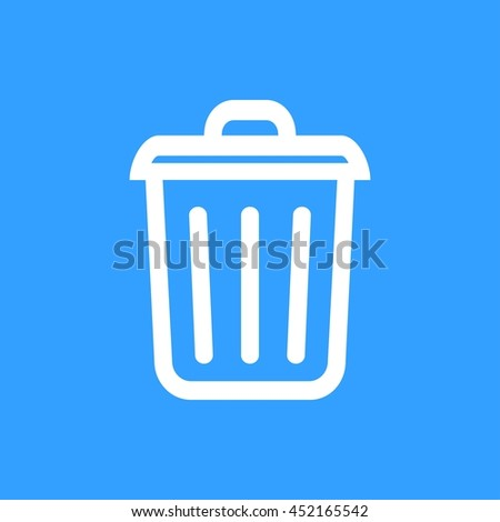 Bin vector icon. White Illustration isolated on blue background for graphic and web design. - stock vector